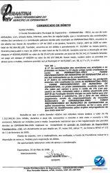 Ofício enviado para o prefeito pela gerente do Fundo Previdenciário de Esperantina