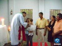 Batizado da filha Brígida, do casal Giovane Aguiar e Renaldo Aguiar